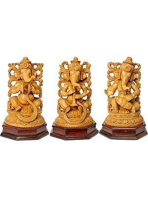 Set of Three Musical Ganeshas