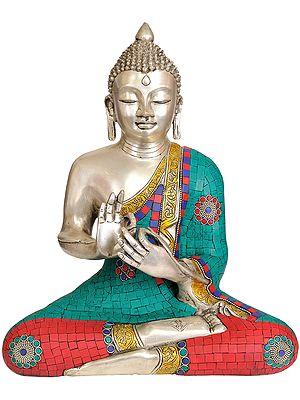 Tibetan Buddhist Lord Buddha in Dharmachakra Mudra