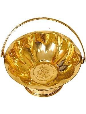 Puja Flowers Basket (with Ganesha Image Inside)