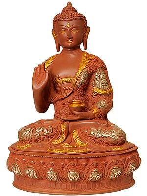 Tibetan Buddha in Terracotta Look (Robes Decorated with The Images of His Life)