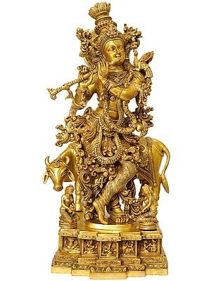 Venugopala (Pedestal Engraved with the Bal Leela of Krishna)