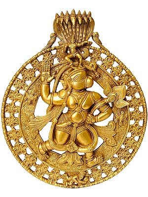 Lord Hanuman Carrying Lotus Flower and Krishna on the Top (Wall Hanging)