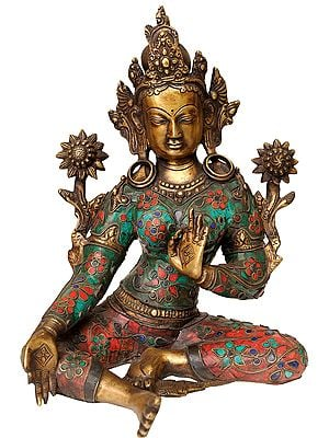 Inlay Tibetan Buddhist Goddess Green Tara