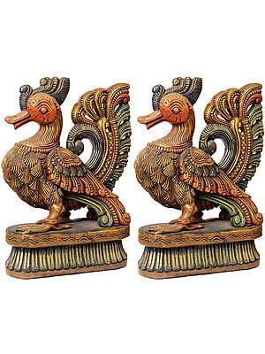 A Peacock Pair: Wood-Carvings
