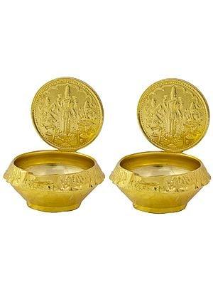 Pair of Diyas with Great Trinity (Saraswati, Lakshmi, and Ganesha)