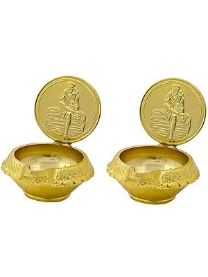 Pair of Puja Diyas with Sai Baba