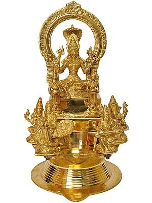 Large Wick Lamp with Goddess Mariamman, Pair of Deep Lakshmi, Lord Ganesha-Goddess Saraswati, Lord Karttikeya-Goddess Lakshmi