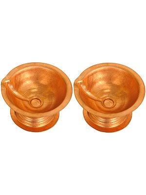 Pair of Copper Puja Diyas
