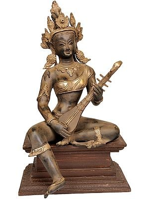 Goddess Saraswati Seated on Wooden Pedestal
