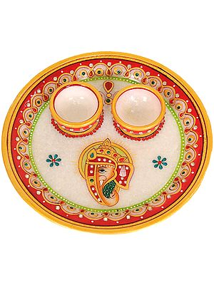 Marble Plate with Two Attached Bowls
