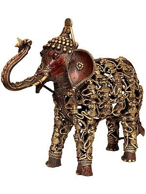 Elephant Made of Human Figures (Folk Statue from Bastar)