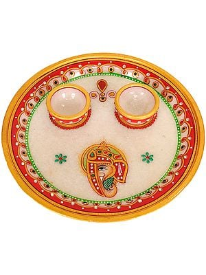 Small Marble Puja Thali