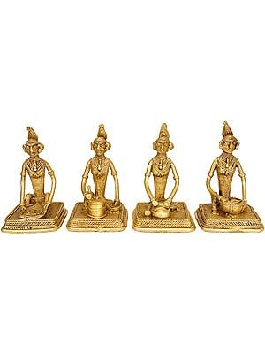 Set of Four Ladies At Their Daily Works (Tribal Statue From Bastar)