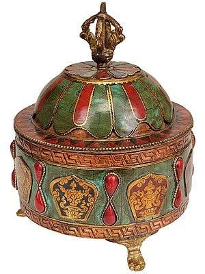 Tibetan Buddhist Ritual Bowl with Lid