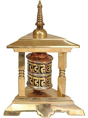 Tibetan Buddhist Prayer Wheel with Stupa Atop
