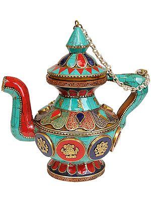 Tibetan Buddhist Ritual Kettle with Auspicious Symbols