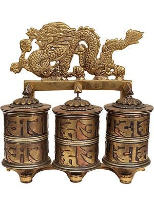Tibetan Buddhist Prayer Wheel with Dragons
