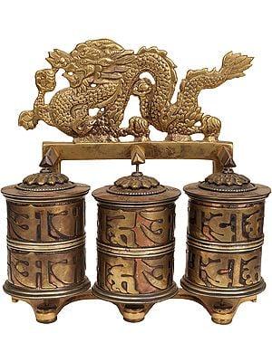 Tibetan Buddhist Prayer Wheel with Dragons