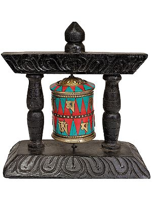 Prayer Wheel on Wooden Stand