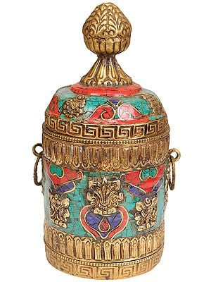 Tibetan Buddhist Ritual Box with Ashtamangala Symbols