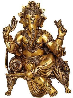 Large Size Lord Ganesha Seated on Chowki