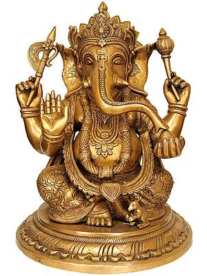 Lord Ganesha Wearing a Beautiful Crown