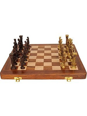 Brass Chess Set with Wooden Board
