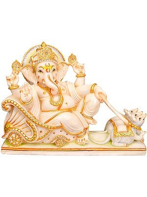 Marble Image of Ganesha Riding a Chariot