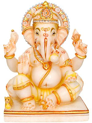 Four Armed Seated Ganesha in Abhaya Mudra