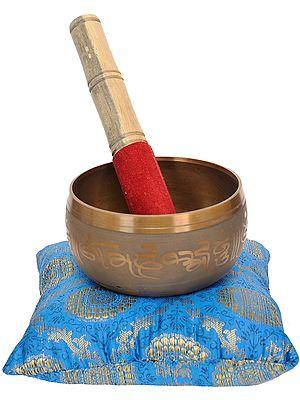 Tibetan Buddhist Singing Bowl Inside The Figure of Buddha in Bhumisparsha Mudra with Cushion