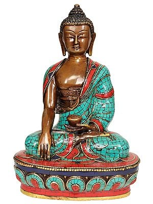 Tibetan Buddhist Lord Buddha in Bhumisparsha Mudra - Made in Nepal