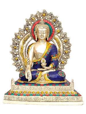 Tibetan Buddhist God Enthroned Medicine Buddha