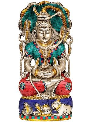 Meditating Shiva Under Serpent (Inlay Statue)