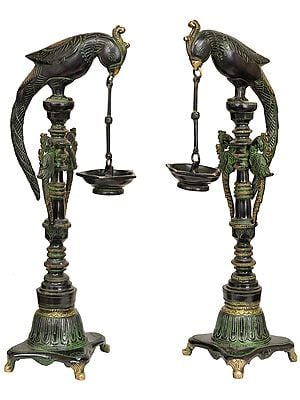 Pair of Parrots Lamp