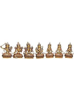 (Tibetan Buddhist Deities) Manjushri, Green Tara, White Tara, Chenrezig, Vajrasattva, Amitabha and Vajradhara  (Set of 7 Statues)