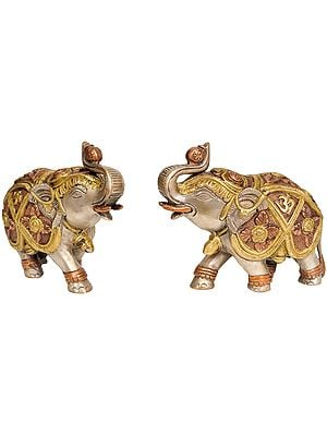 Pair of Elephants with OM
