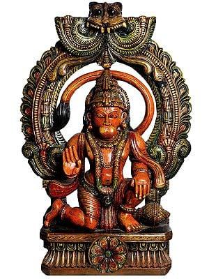 Lord Hanuman In A Glamorous Temple Aureole