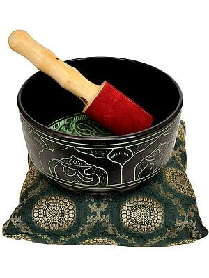 Tibetan Buddhist Singing Bowl with the Image of Buddha in the Bhumisparsha Mudra