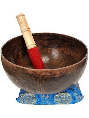 Tibetan Buddhist Singing Bowl with the Image of Auspicious Symbol and Mantras