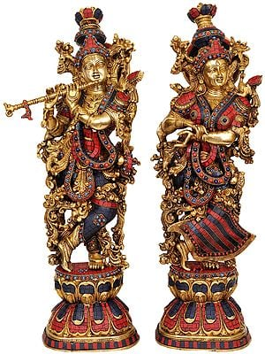 Radha Krishna (A Pair of Inlay Statues)