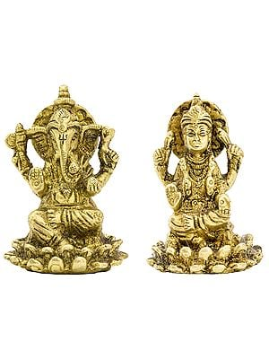 Ganesha and Lakshmi (Pair of Small Statues)