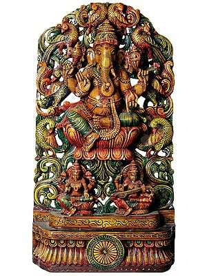 Lord Ganesha with Lakshmi and Saraswati in Floral Arch