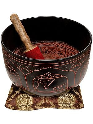 Tibetan Buddhist Singing Bowl with Five Dhyani Buddhas