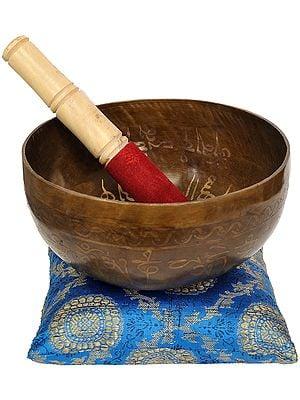 Tibetan Buddhist Singing Bowl with the Image of Buddha in the Bhumisparsha Mudra