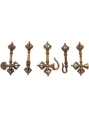 Tibetan Buddhist Set of Five Tantric Buddhist Ritual Symbols