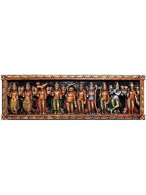 Dashavatara Panel of Bhagawana Vishnu (From the Left - Matshya, Kurma, Varaha, Narasimha, Vaman, Parashurama, Rama, Balarama, Krishna and Kalki)