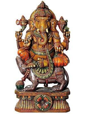 Large Size Bhagawan Ganesha Seated on Rat