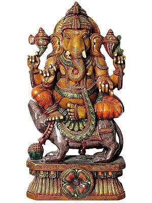 Large Size Bhagawan Ganesha Seated on Rat