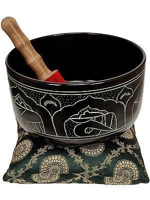 Tibetan Buddhist Singing Bowl with the Image of Buddha and Auspicious Symbols