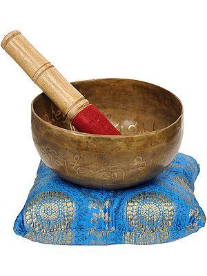 Tibetan Buddhist Singing Bowl with the Image of Buddha